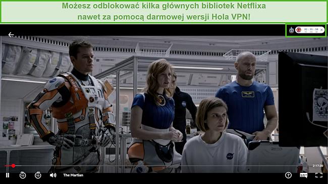 Zrzut ekranu przedstawiający Hola VPN odblokowujący The Martian na Netflix US