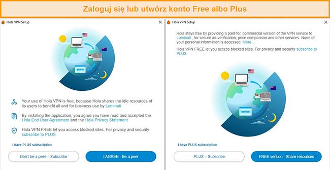 Zrzuty ekranu z procesu instalacji Hola VPN