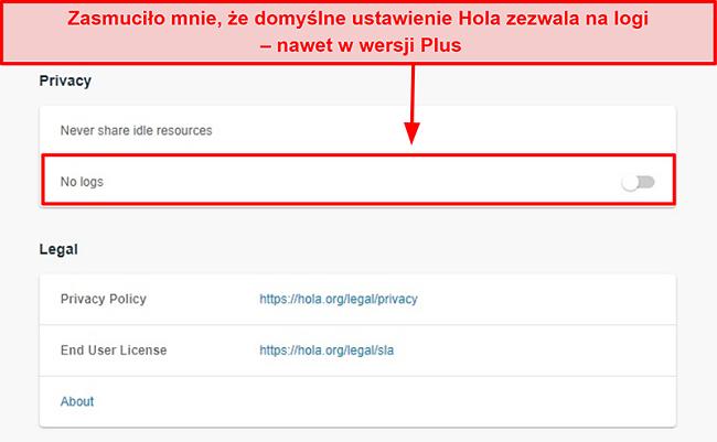 Zrzut ekranu z ustawieniem braku dzienników w Hola VPN