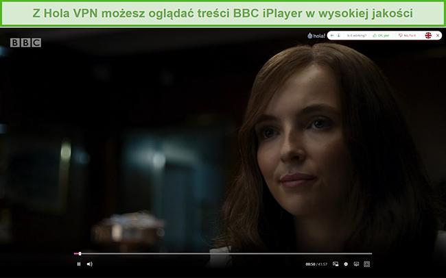 Zrzut ekranu przedstawiający odblokowanie Hola VPN Killing Eve na BBC iPlayer