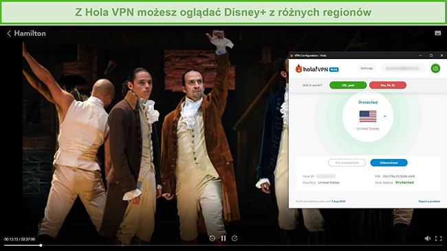 Zrzut ekranu przedstawiający Hola VPN odblokowujący Hamiltona na Disney +