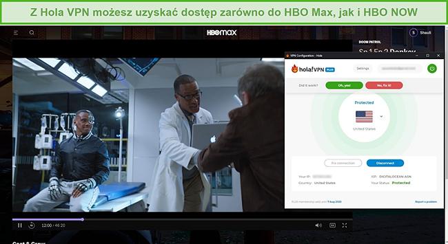 Zrzut ekranu przedstawiający Hola VPN odblokowujący Doom Patrol na HBO Max
