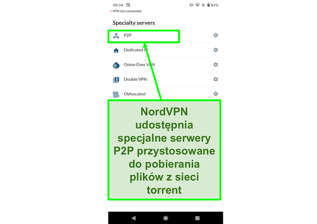 Zrzut ekranu aplikacji NordVPN na Androida pokazujący specjalne serwery P2P