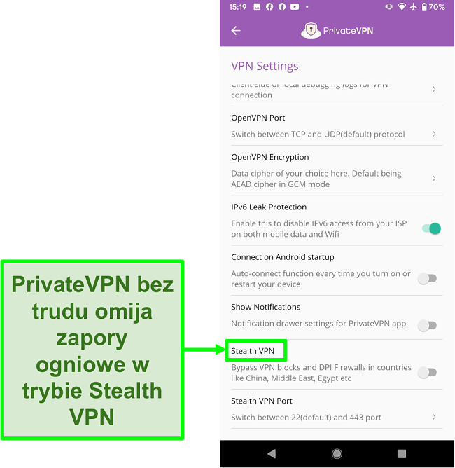 Zrzut ekranu aplikacji PrivateVPN na Androida pokazującej funkcję Stealth VPN, która pomaga ominąć blokady VPN