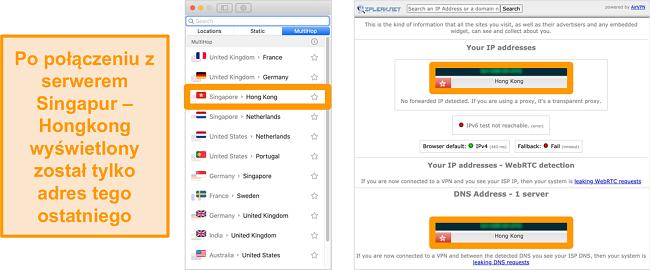 Zrzut ekranu serwera MultiHop Surfshark (podwójna sieć VPN) dla Singapuru i Hongkongu, wraz z wynikami testów szczelności pokazujących tylko widoczny serwer w Hongkongu