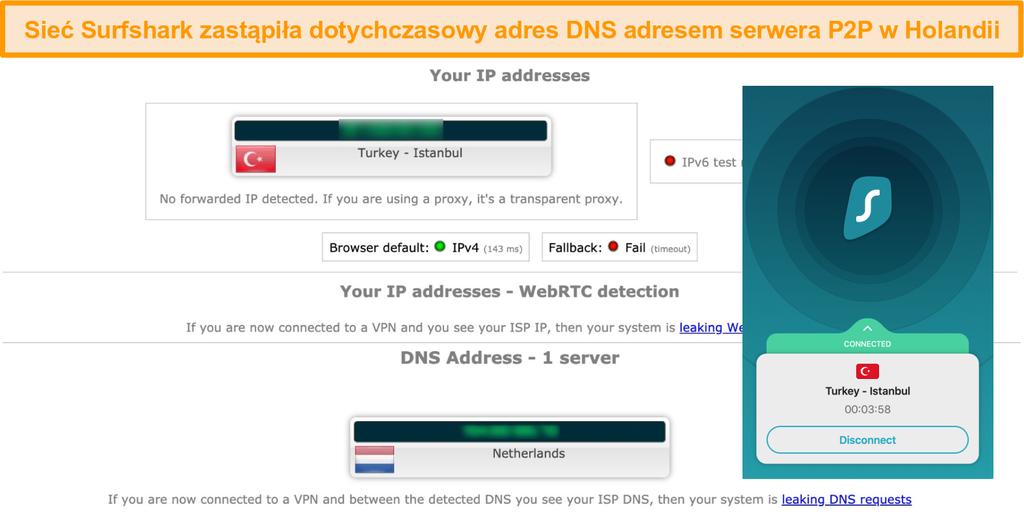 Zrzut ekranu z wynikami testów wycieków z Surfshark połączonym z serwerem w Turcji i serwerem DNS w Holandii
