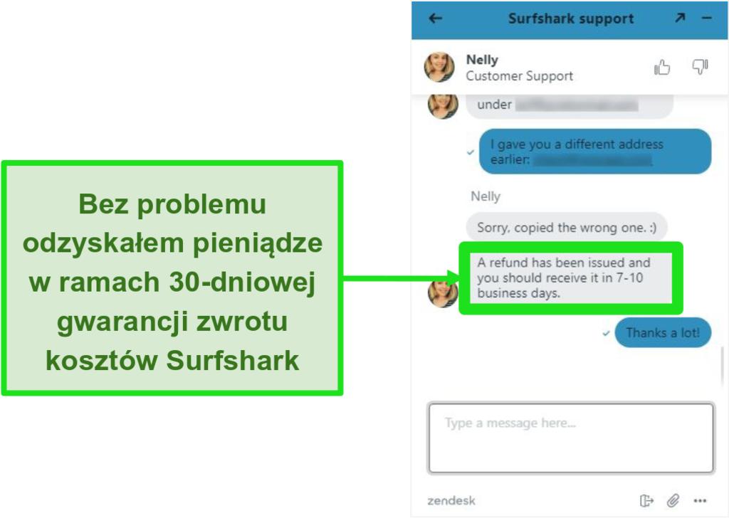Zrzut ekranu czatu na żywo Surfshark i prośba o zwrot pieniędzy