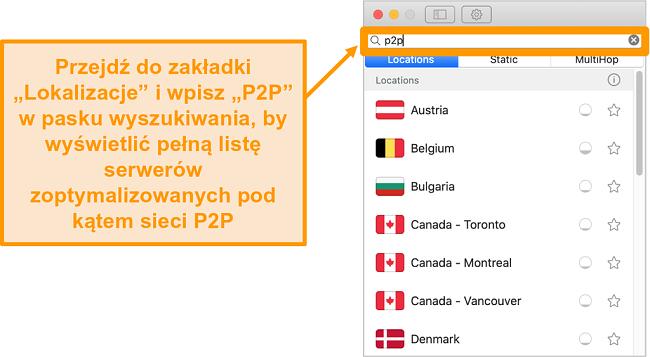 Zrzut ekranu serwerów P2P Surfshark w aplikacji Mac
