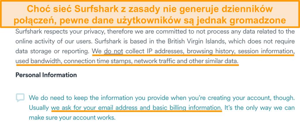 Zrzut ekranu polityki prywatności Surfshark