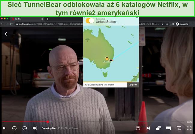 Zrzut ekranu przedstawiający transmisję strumieniową Tunnelbear Breaking Bad w serwisie Netflix US