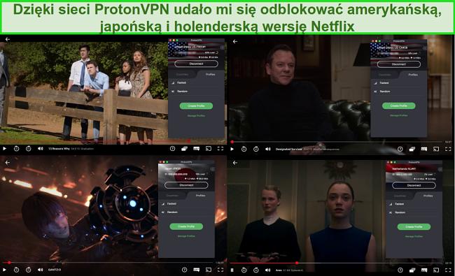 Zrzuty ekranu ProtonVPN z dostępem do Netflix w USA, Japonii i Holandii