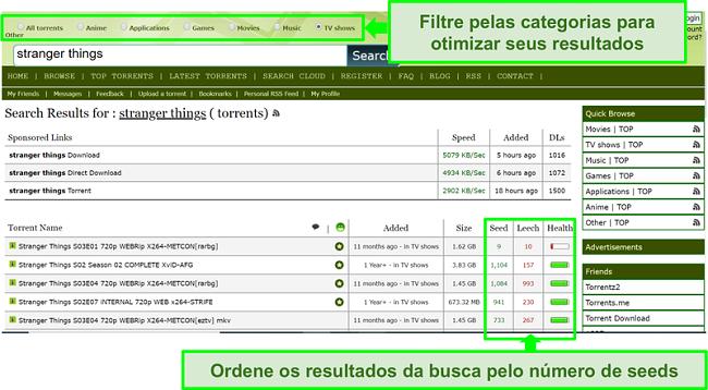Captura de tela da página de pesquisa do Limetorrents