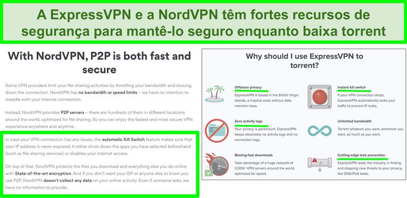 Captura de tela dos sites NordVPN e ExpressVPN mostrando que eles suportam torrenting