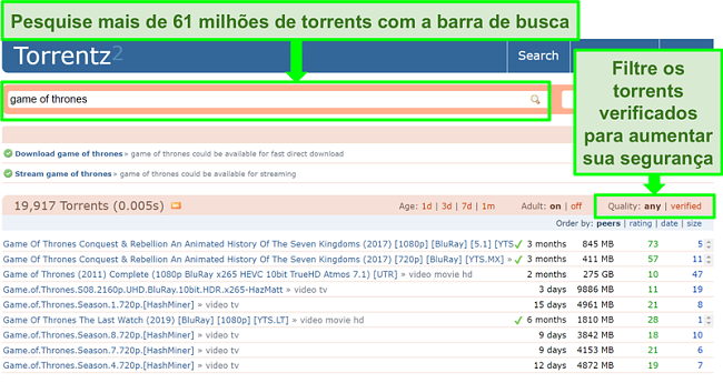 Captura de tela da página de pesquisa do Torrentz2