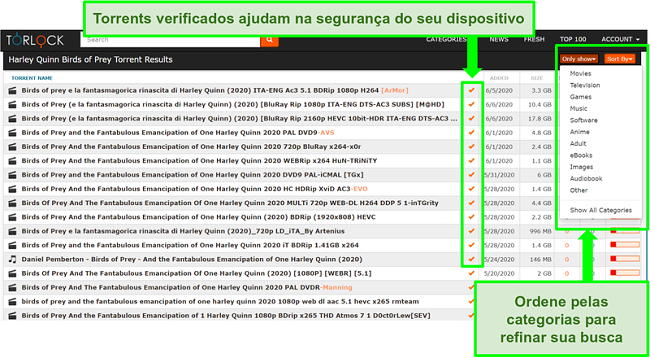 Captura de tela de links falsos no TorLock