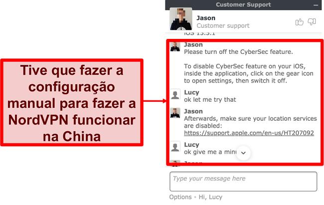 Captura de tela do bate-papo com NordVPN pedindo conselhos sobre como fazer o aplicativo funcionar na China