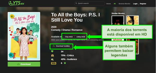 Captura de tela da página de destino YTS