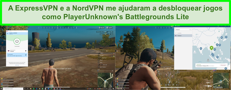 Captura de tela de NordVPN e ExpressVPN desbloqueando PlayerUnknown's Battlegrounds Lite no PC