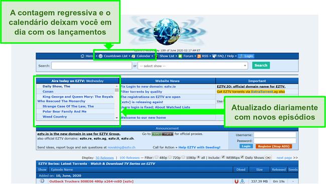 Captura de tela da página de destino EZTV