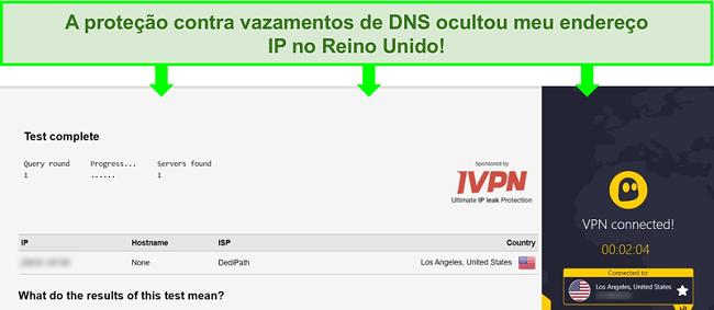 Captura de tela de um teste de vazamento de DNS enquanto conectado ao CyberGhost