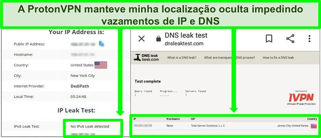 Captura de tela de um teste de vazamento de DNS e endereço IP que não mostra vazamentos de endereço IP enquanto conectado ao ProtonVPN