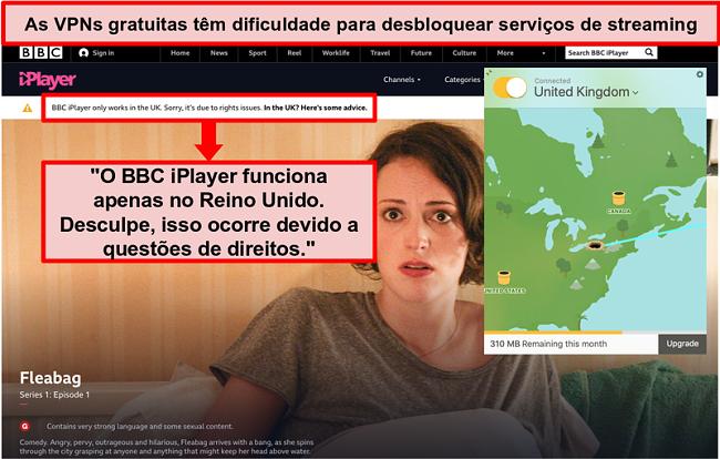 Captura de tela do TunnelBear conectado a um servidor do Reino Unido e incapaz de acessar o BBC iPlayer