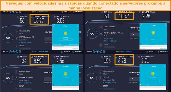 Captura de tela da VPN do Hide.me conectada a servidores na Alemanha, Holanda, EUA e Canadá e resultados de testes de velocidade