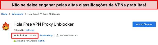 Captura de tela do Hola Free VPN Proxy Unblocker na loja de extensões do Google Chrome