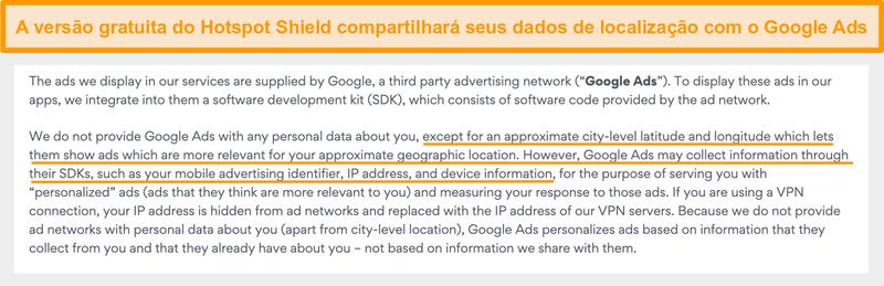 Captura de tela da política de privacidade do Hotspot Shield no Google Ads