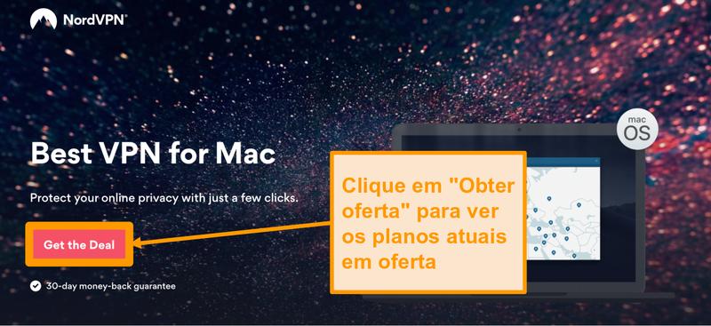Captura de tela da página de ofertas do NordVPN para usuários de Mac