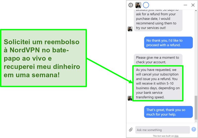 Captura de tela de um cliente solicitando um reembolso com a garantia de devolução do dinheiro em 30 dias no chat ao vivo da NordVPN