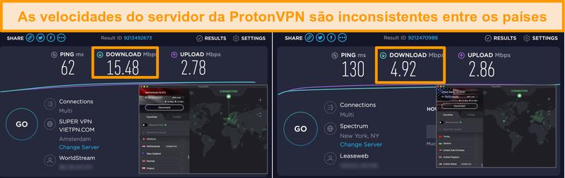 Captura de tela do ProtonVPN conectado à Holanda e aos EUA com resultados de testes de velocidade