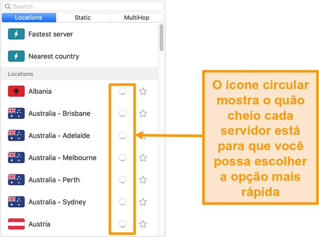Captura de tela da lista de servidores do Surfshark exibindo a carga do servidor