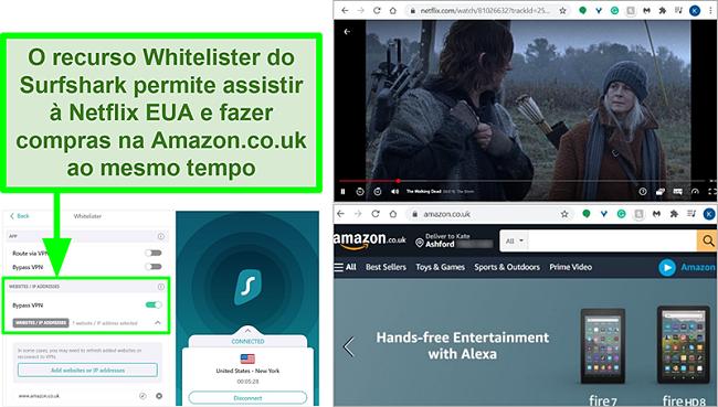 Capturas de tela do Netflix US e Amazon UK sendo usadas ao mesmo tempo devido ao recurso Whitelister do Surfshark