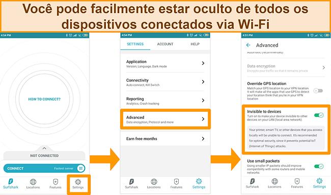 Captura de tela do recurso invisível para dispositivos do Surfshark no aplicativo Android