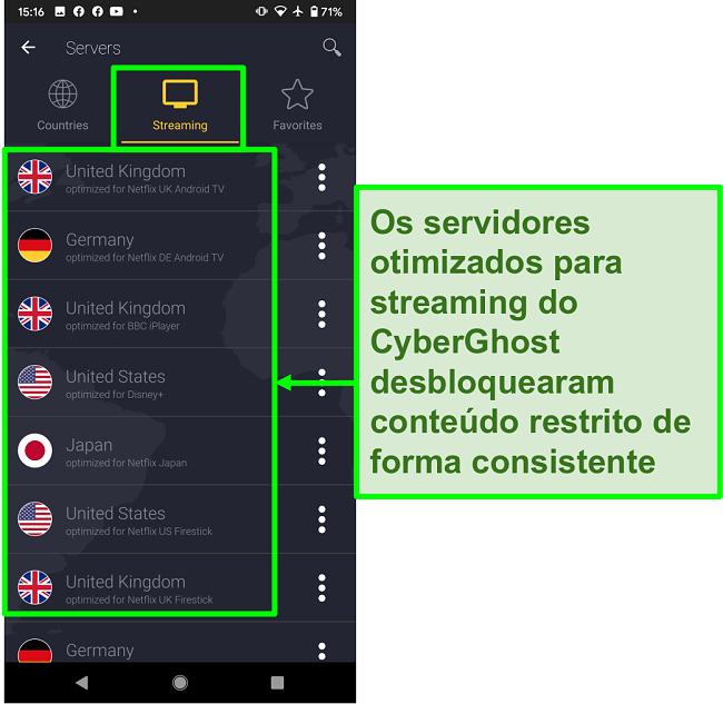 Captura de tela dos servidores otimizados para streaming da CyberGhost