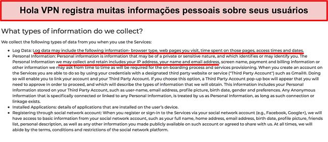 Captura de tela da política de privacidade do Hola VPN mostrando que ele registra o endereço IP