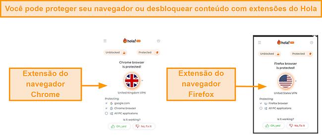 Captura de tela das extensões do navegador Hola VPN para Chrome e Firefox