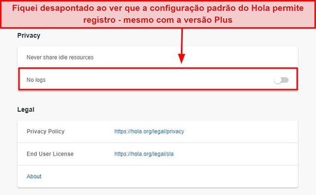Captura de tela da configuração sem registros do Hola VPN