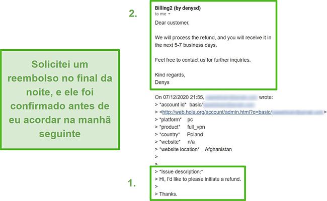 Captura de tela de um e-mail do Hola VPN confirmando um reembolso dentro de 10 horas da solicitação original