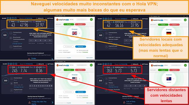 Captura de tela dos testes de velocidade Hola VPN no Reino Unido (47 Mbps), Alemanha (56 Mbps), EUA (7 Mbps) e Austrália (5 Mbps)
