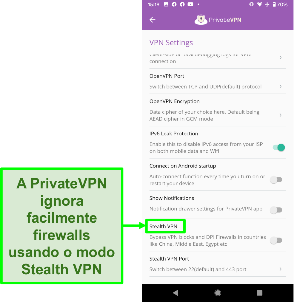 Captura de tela do aplicativo PrivateVPN para Android mostrando o recurso Stealth VPN que ajuda a contornar os bloqueios de VPN