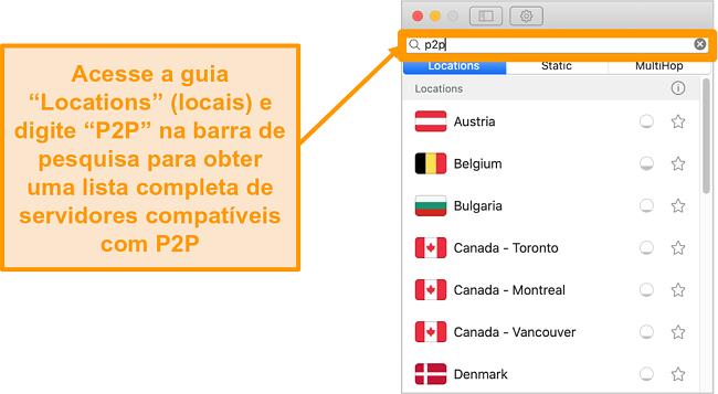 Captura de tela dos servidores P2P do Surfshark no aplicativo Mac