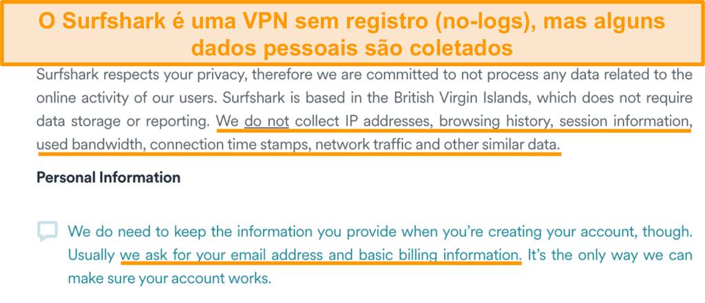 Captura de tela da política de privacidade do Surfshark