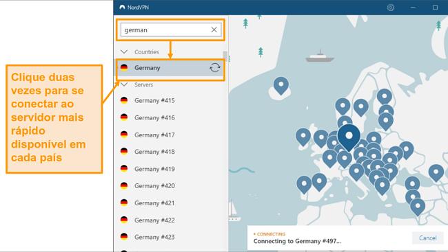 Captura de tela da seleção do servidor NordVPN Alemanha