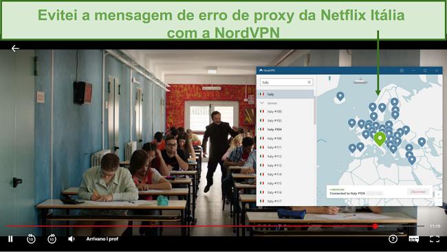 Captura de tela de NordVPN desbloqueando Netflix Itália durante o jogo Arrivano i Prof