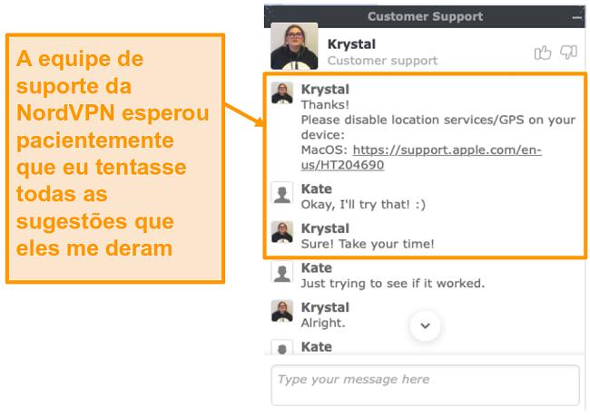 Captura de tela do recurso de chat ao vivo do suporte ao cliente NordVPN