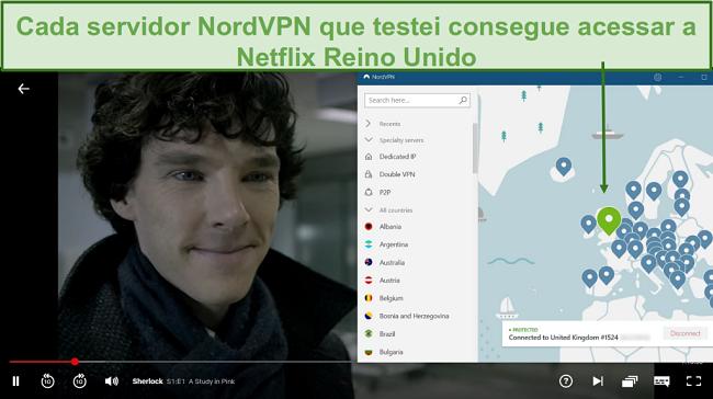 Captura de tela de NordVPN desbloqueando Netflix UK enquanto joga Sherlock