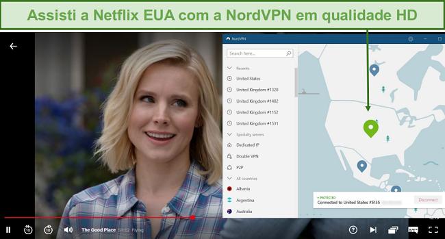 Captura de tela do The Good Place streaming no Netflix com NordVPN conectado a um servidor dos EUA