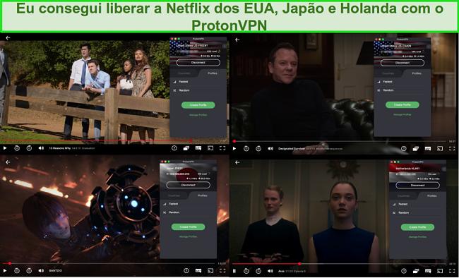 Capturas de tela do ProtonVPN acessando a Netflix nos EUA, Japão e Holanda